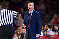 FAYETTEVILLE, AR - FEBRUARY 17:  Head Coach Billy Kennedy of the Texas A&M Aggies yells to his team during a game against the Arkansas Razorbacks at Bud Walton Arena on February 17, 2018 in Fayetteville, Arkansas.  The Razorbacks defeated the Aggies 94-75.  (Photo by Wesley Hitt/Getty Images) *** Local Caption *** Billy Kennedy