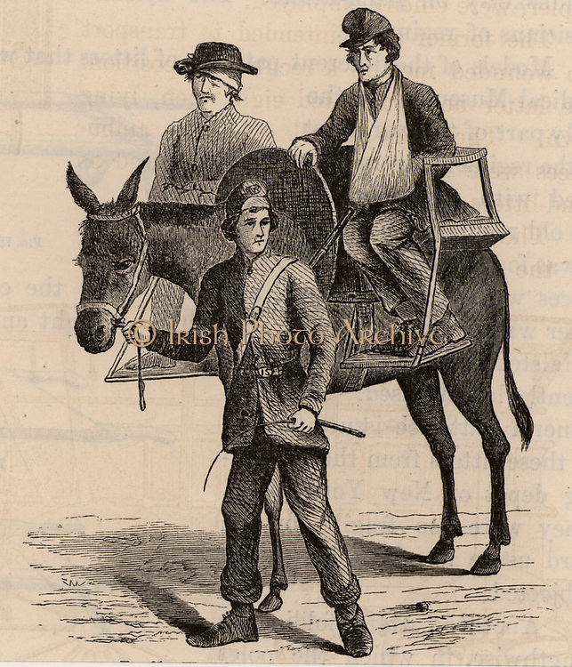 American Civil War 1861-1865.  Sitting casualties being transported by mule in cacolets (chairs).  Wood engraving 1865.