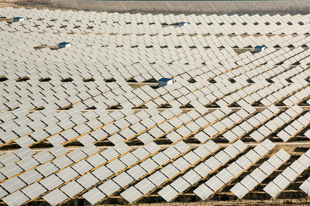 A field of solar panels  in the desert. Ningxia has led the way in terms of supplying electricity to other provinces. Despite its strong coal economy, Ningxia is also one of the major areas for renewable energy investment in China. Ningxia has set a target of installing five gigawatts of wind power and 600 megawatts of solar power by 2015.