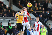 Mark Roberts and Danny Wright during the EFL Sky Bet League 2 match between Cambridge United and Cheltenham Town at the R Costings Abbey Stadium, Cambridge, England on 26 November 2016. Photo by Antony Thompson.