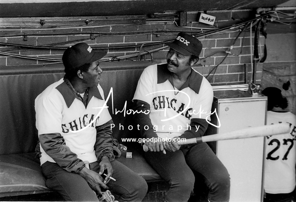 (1978) Chicago White Sox head coach (right) Larry Doby and Sox coach Minnie Minoso talk before game.