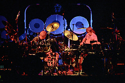 """Percussionists Bill Kreutzmann & Mickey Hart performing with The Grateful Dead Live at The Hampton Coliseum on 8 October 1989. One of the Eleven images included in the CD boxed set release, """"Formerly The Warlocks"""". Can be purchased individually or as part of a special limited set of all 11 in the package printed by the photographer. Choose in Cart."""