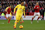 MK Dons forward Nicky Maynard leads the attack during the Sky Bet Championship match between Nottingham Forest and Milton Keynes Dons at the City Ground, Nottingham, England on 19 December 2015. Photo by Aaron Lupton.