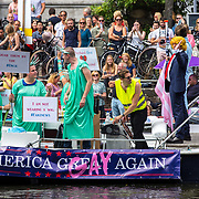 NLD/Amsterdam/20170805 - Gaypride 2017, boot Make America Great (Gay) Again met president Trump look a like