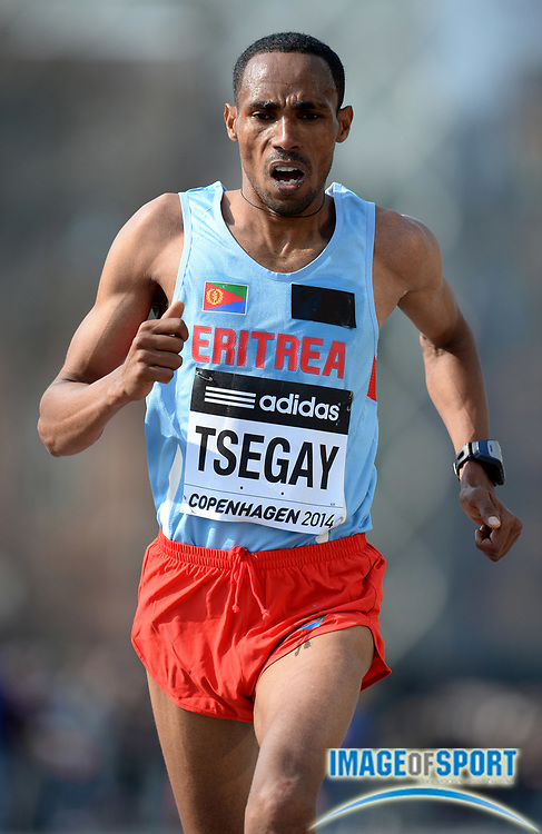 Mar 29, 2014; Copenhagen, Denmark; Samuel Tsegay (ERI) places second in the mens race in 59:21 in the IAAF/AL-Bank World Half Marathon Championship. Photo by Jiro Mochizuki