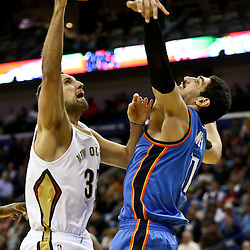 Feb 25, 2016; New Orleans, LA, USA; Oklahoma City Thunder center Enes Kanter (11) defends against New Orleans Pelicans forward Ryan Anderson (33) during the second half of a game at Smoothie King Center. The Pelicans defeated the Thunder 123-119. Mandatory Credit: Derick E. Hingle-USA TODAY Sports