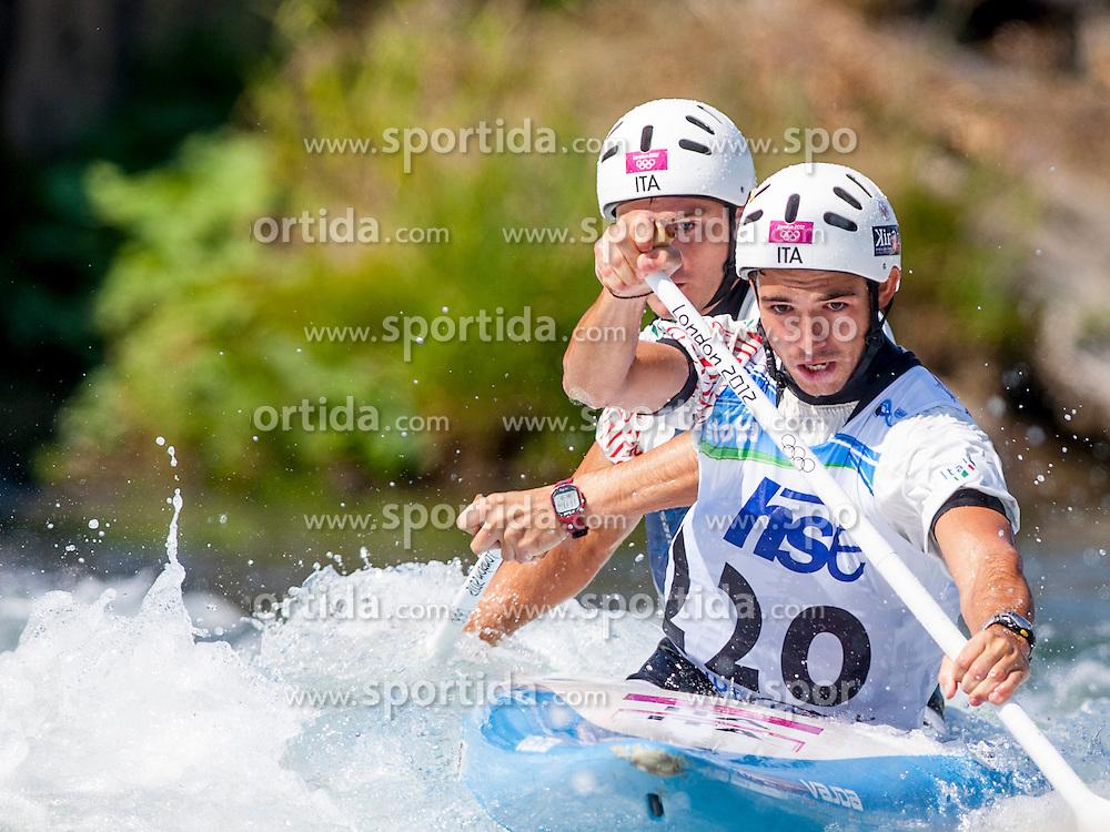 Pietro Camporesi and Niccolo Ferrari of Italy during Canoe (C2) Man semi-final race at ICF Canoe Slalom World Cup Sloka 2013, on August 18, 2013, in Tacen, Ljubljana, Slovenia. (Photo by Urban Urbanc / Sportida.com)