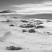 Ice pressure ridges, Mount Erebus, and incoming storm, from Scott Base