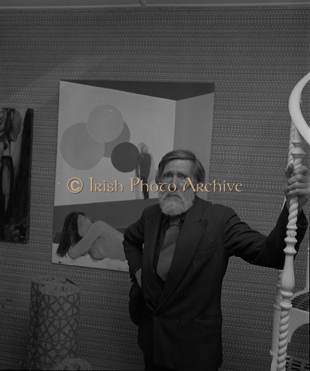 """04/07/1969.07/04/1969.4th July 1969.Sean Keating at an exhibit of a representative selection of the exhibits in the RTE Regional Arts awards from Limerick  shown in the Tintawn showroom in South KIng Street, Dublin...Sean Keating.Sean Keating (1889-1977).Portrait and figure painter, John Keating was born in Limerick on 28th September 1889...Examples: Armagh: County Museum. Ballinasloe, Co. Galway: St Joseph's College. Beijing: Irish Embassy. Belfast: Dublin Institute for Advanced Studies; Merrrion; Church of the Holy Spirit, Ballyroan; Co. Dublin Vocational Education Committee;.Literature: Royal Dublin Society Report of Council, 1""""4; The Studio, May 1915, July 1917, September 1923 (also illustration), July 1914, October 1924, November 1951; Seumas O'Brien, The Whale and the Grasshopper, Dublin 1920 (illustration); Dublin Magazine, December 1923 (illustration), October 1924 (illustration), July- September 1943, October-December 1946; John M. Synge, The Playboy of the Western World, London 1927 (illustrations); J. Crampton Walker, Irish Life and Landscape, Dublin 1927 (also illustration); Mary MacCarvill, Rhymer's Wake, London 1931 (illustration); Bulmer Hobson, ed., Saorsalt Eireann Official Handbook, Dublin 1932 (illustrations); Father Mathew Record, June 1934, October 1941 (also illustration); Ireland To-Day, August 1937, December 1937, Patncial Lynch, The Grey Goose of Kilnevin, London 1939 (illustrations); Thomas Bodkin, intro., Twelve Irish Artists, Dublin 1940 (also illustration); The Bell, June 1942; Municipal Gallery of Modem Art, John Keating Paintings-Drawings, catalogue, Dublin, 1963; The Word, April 1965; Irish Independent, 26 January 1967; Kenny Art Gallery, Exhibition of paintings by Sean Keating, RHA and sculptures by Carolyn Mulholland, catalogue, Galway 1968; London 1986 (also illustration); Ann M. Stewart, Royal Hibernian Academy of Arts: Index of Exhibitors 1826-1979, Dublin 1986; Touring Exhibitions Service, Sean Keating and the ESB, catalogue, Du"""