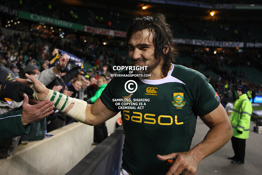 LONDON, ENGLAND - NOVEMBER 27, Victor Matfield captain has some fun with the fans after the game on the  End of Year tour match between England and South Africa at Twickenham Stadium on November 27, 2010 in London, England<br /> Photo by Steve Haag / Gallo Images