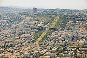 Aerial Photography of Haifa, Israel Bahai Gardens in the centre