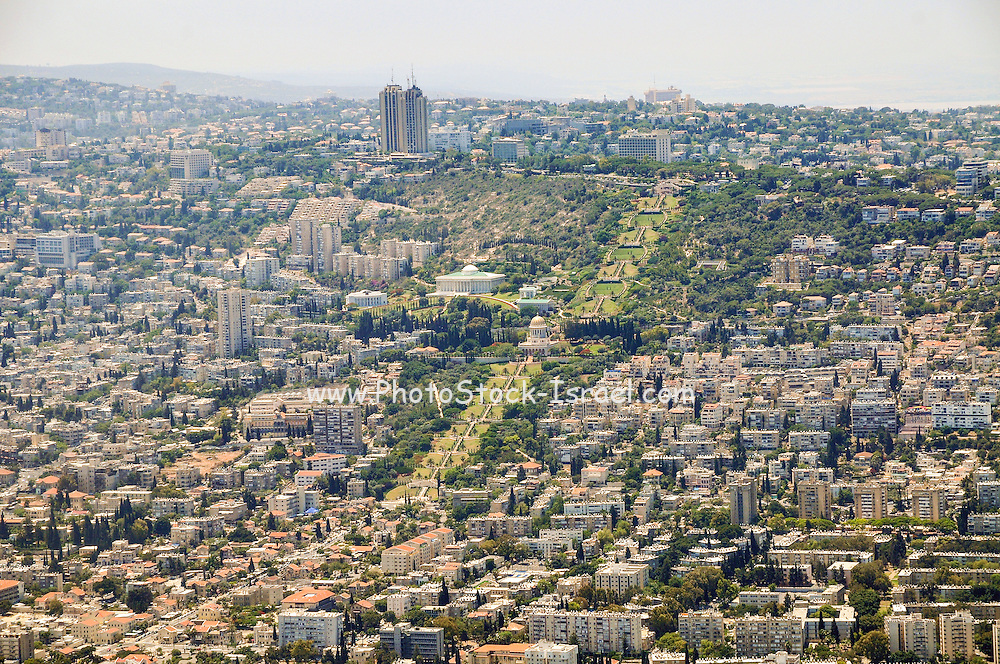 Aerial Photography of Haifa, Israel Bahai Gardens in the centre