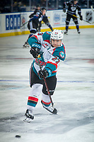 KELOWNA, CANADA - DECEMBER 30: Colum McGauley #23 of the Kelowna Rockets warms up with a shot on net against the Victoria Royals on December 30, 2017 at Prospera Place in Kelowna, British Columbia, Canada.  (Photo by Marissa Baecker/Shoot the Breeze)  *** Local Caption ***