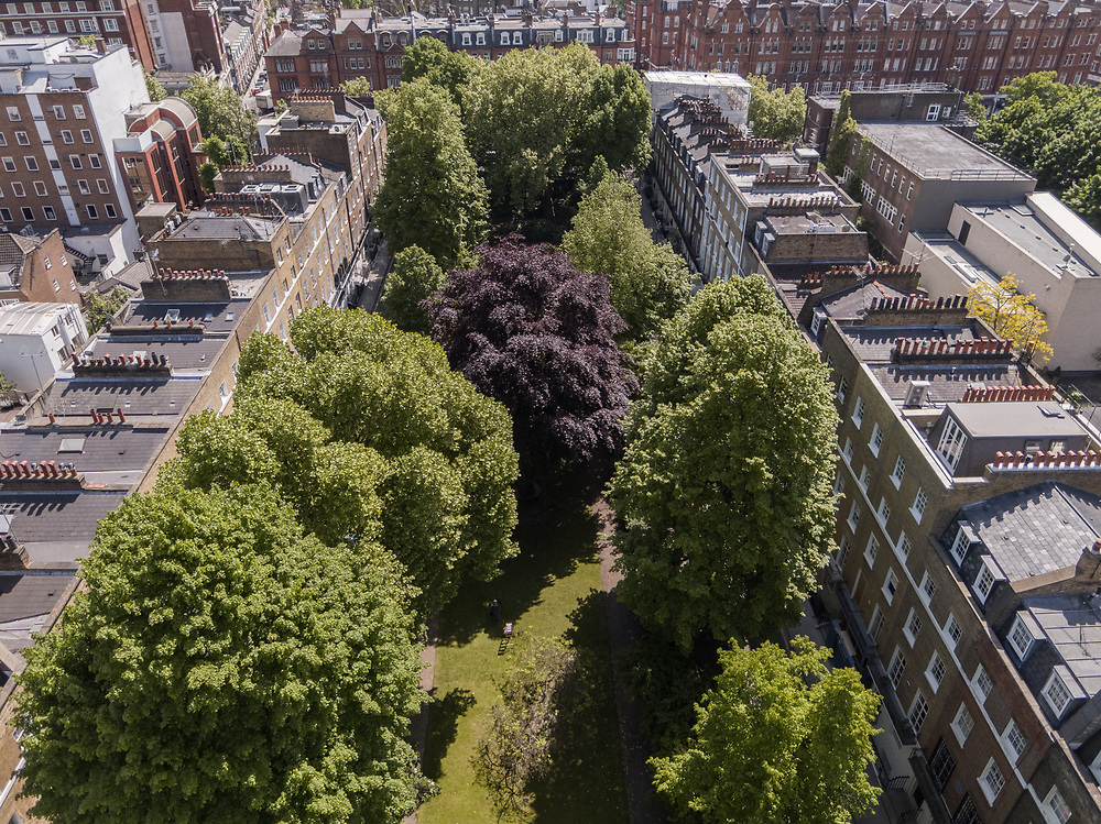 An aerial view of London looking down at Brompton Square in Kensington