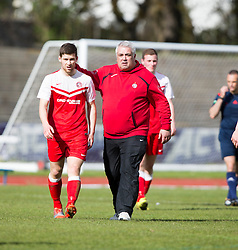 Brora Rangers manager David Kirkwood at the end. <br /> Edinburgh City 1 v 1 Brora Rangers, 1st leg, Pyramid Playoffs at Meadowbank, 25/4/2015.