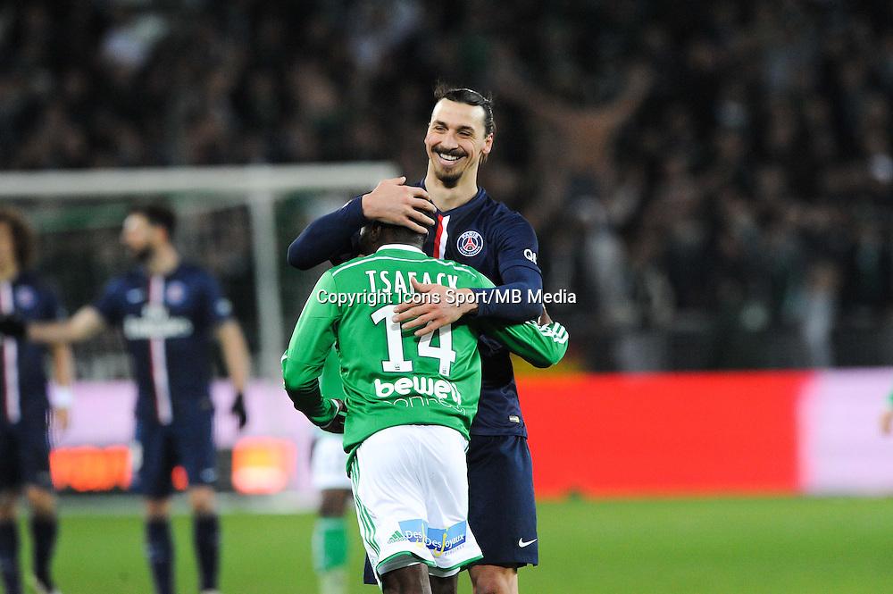 Zlatan IBRAHIMOVIC / Landry N GUEMO - 25.01.2015 - Saint Etienne / PSG - 22eme journee de Ligue1<br /> Photo : Jean Paul Thomas / Icon Sport