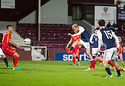 Scotland's Oliver McBurnie shooots over the bar during Scotland Under-21 v FYR Macedonia,  UEFA Under 21 championship qualifier  at Tynecastle, Edinburgh. Photo: David Young<br /> <br />  - © David Young - www.davidyoungphoto.co.uk - email: davidyoungphoto@gmail.com