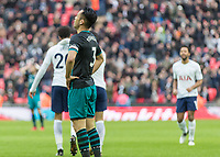 Football - 2017 / 2018 Premier League - Tottenham Hotspur vs. Southampton<br /> <br /> Maya Yoshida (Southampton FC ) with hands on hips after Dele Alli (Tottenham FC)  gives his team a 3 goal lead at Wembley Stadium.<br /> <br /> COLORSPORT/DANIEL BEARHAM