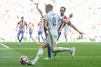 Real Madrid's Toni Kroos and Atletico de Madrid's Juanfran Torres during La Liga match between Real Madrid and Atletico de Madrid at Santiago Bernabeu Stadium in Madrid, April 08, 2017. Spain.<br /> (ALTERPHOTOS/BorjaB.Hojas)