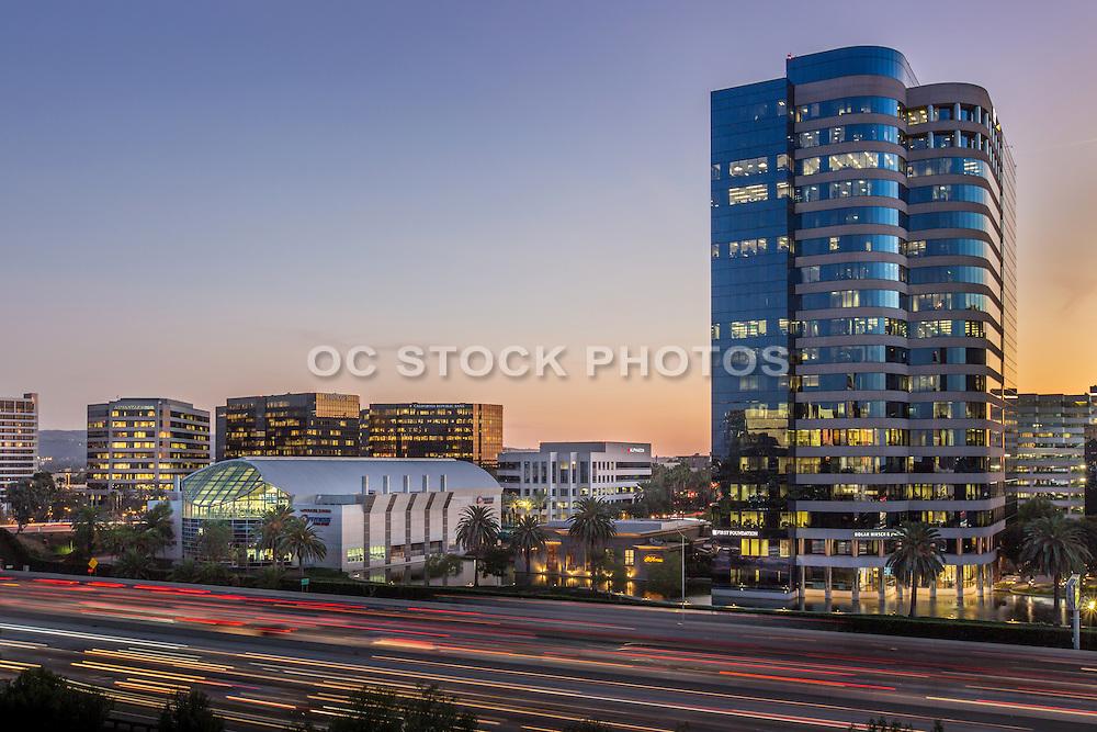 Irvine Skyline at the 405 Freeway at Dusk