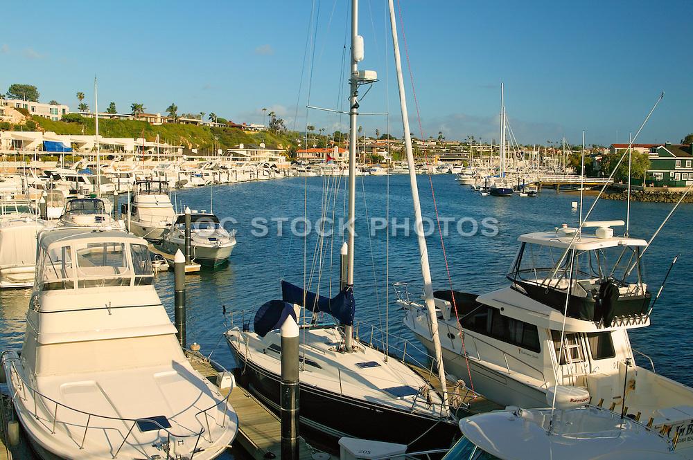Boats in Newport Harbor From The Bridge To Balboa Island Newport Beach California