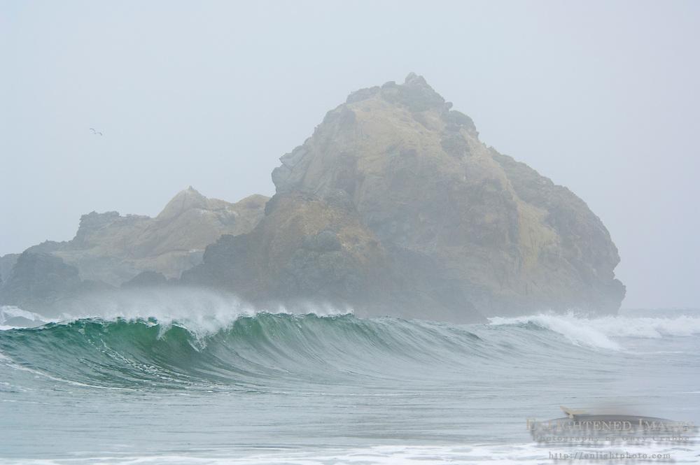 Ocean waves breaking next to coastal rock in fog, Pfeiffer Beach, Big Sur Coast, Monterey County, California
