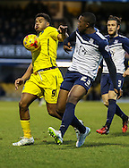 Reuben Reid of Plymouth Argyle (left) holds off Jerome Williams of Southend United (right) during the Sky Bet League 2 match at Roots Hall, Southend<br /> Picture by David Horn/Focus Images Ltd +44 7545 970036<br /> 10/01/2015