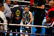 Josh Warrington enters the ring during the IBF World Featherweight Championship between Josh Warrington and Kid Galahad at First Direct Arena, Leeds, United Kingdom on 15 June 2019.