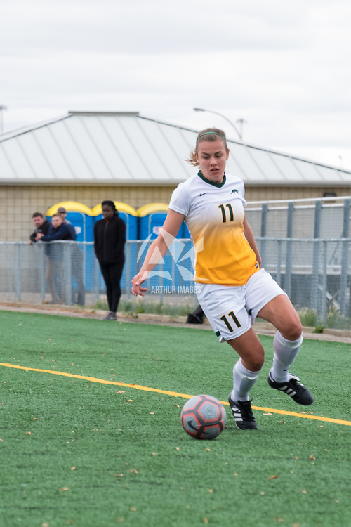 3rd year forward Kirsten Finley (11) of the Regina Cougars in action during the Women's Soccer Home Game on September 23 at U of R Field. Credit Matt Johnson/©Arthur Images 2017