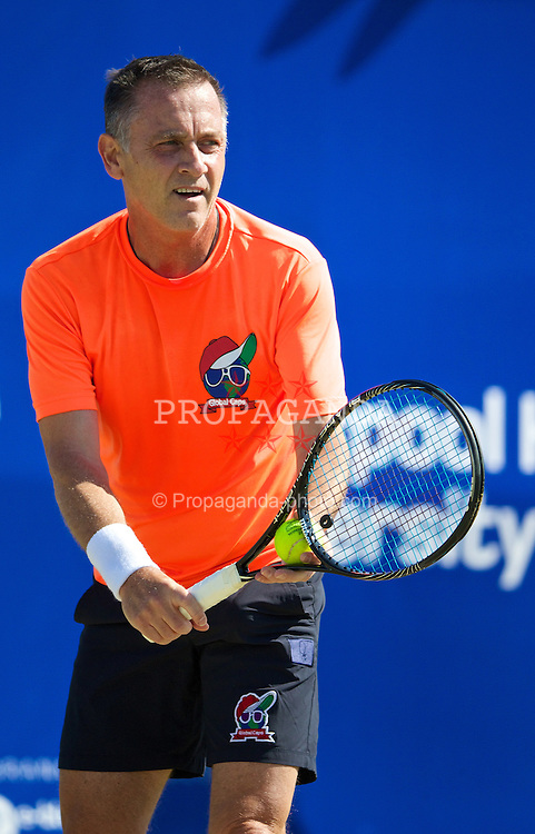 LIVERPOOL, ENGLAND - Saturday, June 21, 2014: Mikael Pernfors (SWE) during Day Three of the Liverpool Hope University International Tennis Tournament at Liverpool Cricket Club. (Pic by David Rawcliffe/Propaganda)