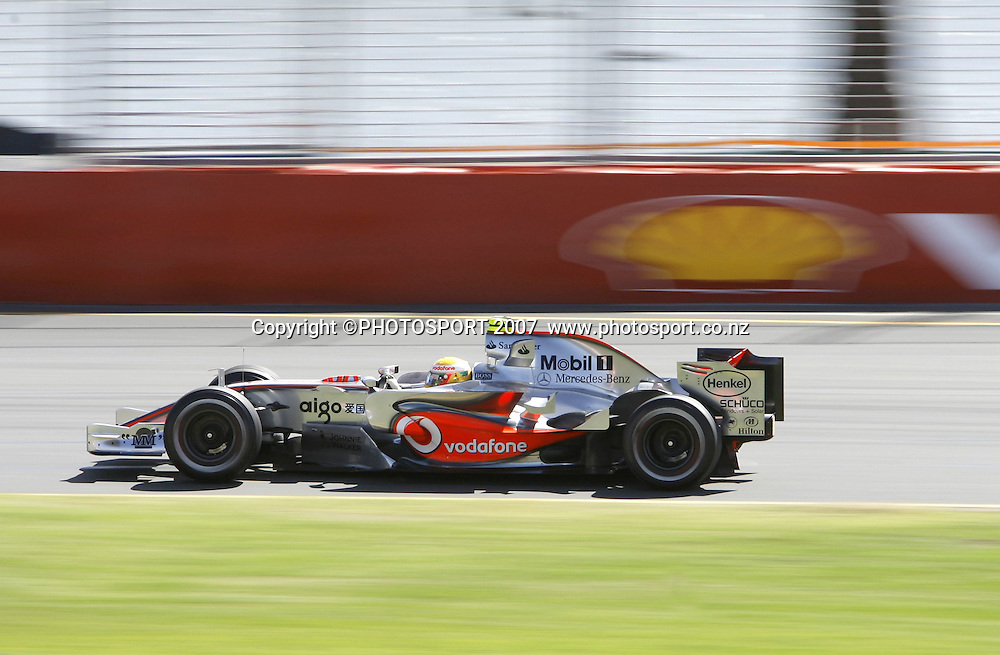 Lewis Hamilton in action for Mclaren Mercedes during the Australian Formula 1 Grand Prix at Melbourne, Australia on Sunday 18 March 2007. Photo: Panoramic/PHOTOSPORT #NO AGENTS#<br /> <br /> <br /> 180307 *** Local Caption ***