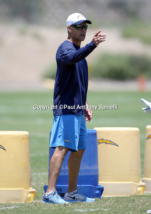 San Diego Chargers linebackers coach Mike Nolan points during the San Diego Chargers Spring 2015 NFL minicamp practice held on Tuesday, June 16, 2015 in San Diego. (©Paul Anthony Spinelli)