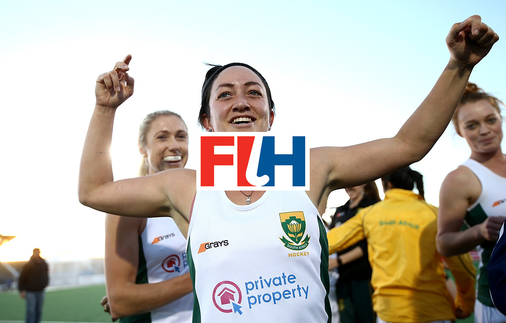 JOHANNESBURG, SOUTH AFRICA - JULY 16:  Candice Manuel of South Africa celebrates at the final whistle during day 5 of the FIH Hockey World League Women's Semi Finals Pool B match between South Africa and United States of America at Wits University on July 16, 2017 in Johannesburg, South Africa.  (Photo by Jan Kruger/Getty Images for FIH)