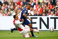 04-10-2015 VOETBAL: AJAX-PSV:AMSTERDAM<br /> Kenny Tete van Ajax met een sliding op Jurgen Locadia van PSV <br /> <br /> <br /> Foto: Geert van Erven