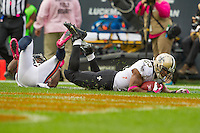 06 October 2013: Running back (23) Pierre Thomas of the New Orleans Saints scores a touchdown against the Chicago Bears during the first half of the Saints 26-18 victory over the Bears in an NFL Game at Soldier Field in Chicago, IL.