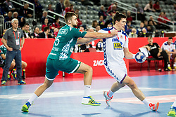 Vadim Gayduchenko of Belarus vs Nemanja Zelenovic of Serbia during handball match between National teams of Serbia and Belarus on Day 7 in Main Round of Men's EHF EURO 2018, on January 24, 2018 in Arena Zagreb, Zagreb, Croatia.  Photo by Vid Ponikvar / Sportida
