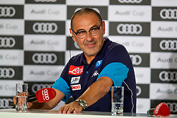 MUNICH, GERMANY - Monday, July 31, 2017: SSC Napoli head coach Maurizio Sarri during a press conference ahead of the Audi Cup 2017 at the Westin Grand Hotel München. (Pic by David Rawcliffe/Propaganda)