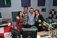 Hector's day on RTE 2FM Hector O hEochagain , Larry Gogan and Ryan Tubridy, celebrate Hector's First Breakfast show live in Galway. Photo:Andrew Downes.