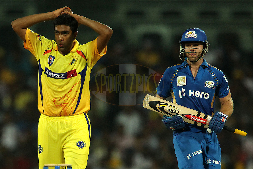 Ravichandran Aswin and Aiden Blizzard during match 3 of the NOKIA Champions League T20 ( CLT20 )between the Chennai Superkings and the Mumbai Indians held at the M. A. Chidambaram Stadium in Chennai , Tamil Nadu, India on the 24th September 2011..Photo by Ron Gaunt/BCCI/SPORTZPICS