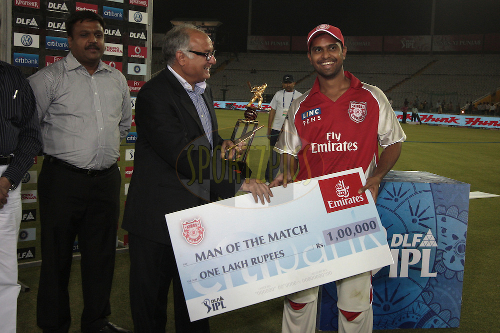 Paul Valthaty of Kings XI Punjab, reciving Man of The Match during match 9 of the Indian Premier League ( IPL ) Season 4 between the Kings XI Punjab and the Chennai Super Kings held at the PCA stadium in Mohali, Chandigarh, India on the 13th April 2011..Photo by Anil Dayal/BCCI/SPORTZPICS
