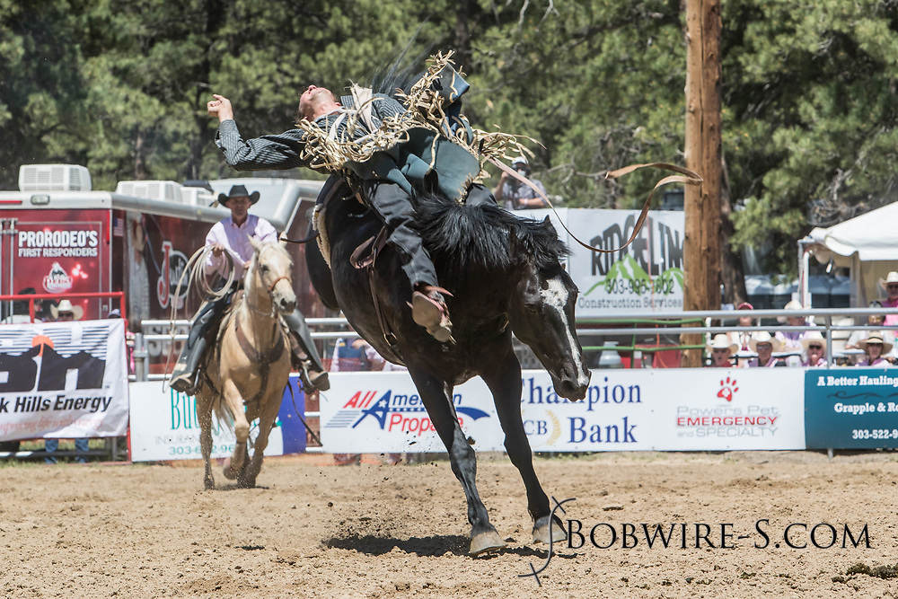 Tyler Ferguson rides Summit Pro Rodeo's 780 Night Latch in the bareback riding during the first performance at the Elizabeth Stampede on Saturday, June 2, 2018.