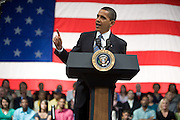 US President Barack Obama participates in a town hall meeting in Rio Rancho, New Mexico, USA, on 14 May 2009. Obama called on Congress to pass tougher regulation over the credit card industry.
