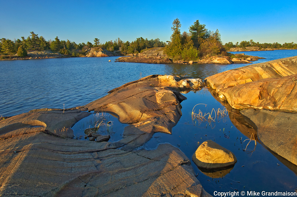 Forest and Precambrian Shield rock along Georgian Bay (Lake Huron)<br />French River Provincial Park<br />Ontario<br />Canada