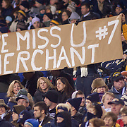 Fans hold up a sign late in the 4th quarter during a Army and Navy Football game at Lincoln Financial Field in Philadelphia Pennsylvania.