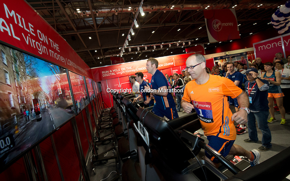 Hugh Brasher, Virgin Money London Marathon Race Director, runs the worlds first  Digital Marathon at the official race Expo, ExCeL centre London.<br /> <br /> Friday 11th of April 2014<br /> <br /> FREE PICTURE USAGE<br /> PR picture distributed by London Marathon<br /> No reproduction fee<br /> <br /> FFI Contact <br /> Penny Dain 07799170433 <br /> Pennyd@london-marathon.co.uk<br /> Excel Exhibition Centre<br /> The Virgin Money London Marathon 2014<br /> 11 April 2014. <br /> <br /> Photo: Tom Lovelock/Virgin Money London Marathonmedia@london-marathon.co.uk
