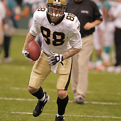 2008 August 28: Jeremy Shockey (88) of the New Orleans Saints runs during a drill prior to the start of their game against the Miami Dolphins at the Louisiana Superdome in New Orleans, LA.