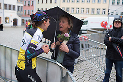 Lisa Brennauer (GER) of CANYON//SRAM Racing says hello to her Mum after the prologue of the Lotto Thuringen Ladies Tour - a 6.1 km individual time trial, starting and finishing in Gera on July 12, 2017, in Thuringen, Germany. (Photo by Balint Hamvas/Velofocus.com)