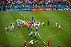 MOSCOW, RUSSIA - Sunday, July 1, 2018: Russia players celebrates after beating Spain 4-3 on penalties during the FIFA World Cup Russia 2018 Round of 16 match between Spain and Russia at the Luzhniki Stadium. (Pic by David Rawcliffe/Propaganda)