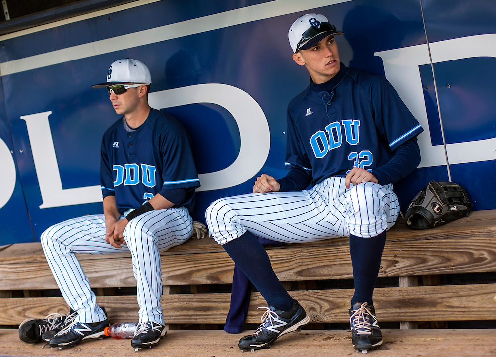 May 3, 2013; Norfolk, VA; ODU Monarchs right fielder Ben Verlander (32) sits in the dugout with teammate Drew Coker (left) before the game against the George Mason Patriots at the Bud Metheny Baseball Complex . Mandatory Credit: Peter Casey-USA TODAY Sports