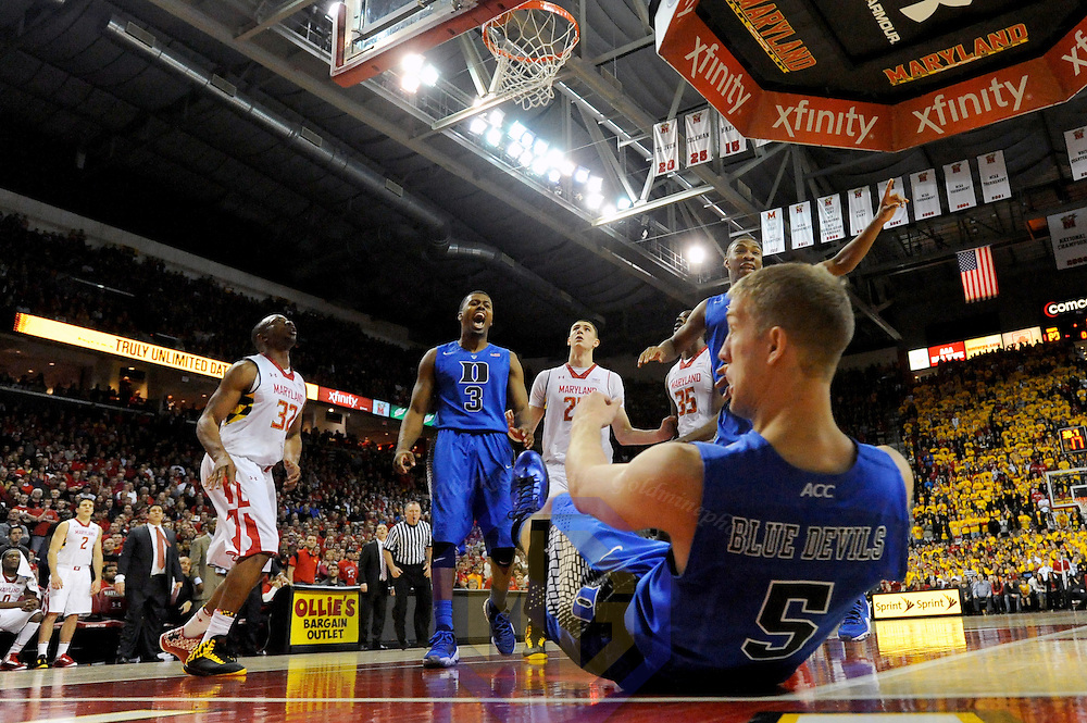 16 February 2013:   Duke Blue Devils guard Tyler Thornton (3) and guard Rasheed Sulaimon (14) react after forward Mason Plumlee (5) goed to the floor  after being fouled in action against the Maryland Terrapins at the Comcast Center in College Park, MD. where the Maryland Terrapins upset the second ranked Duke Blue Devils, 83-81.
